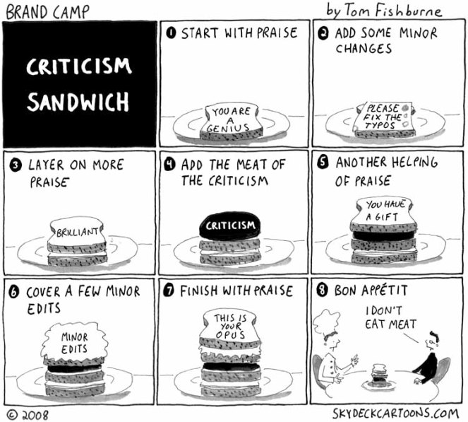 """This is a pretty good way to dish criticism. """"Dish"""", geddit? Ha ha. Oh never mind.  (http://skydeckcartoons.com)"""