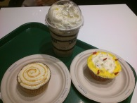 A trip to Cinnabon resulted in an Oreo Chillata, a red velvet cupcake, a dulce de leche cupcake and a sugar high!