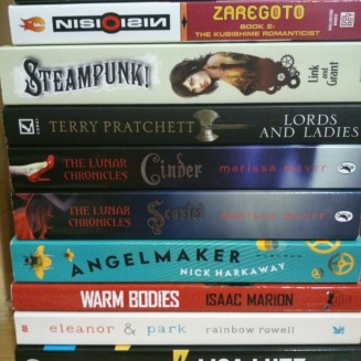 The 4-star books. This is not the full pile; some of them are eBooks. But these were good books, very good books. I almost gave Cinder 5 stars.