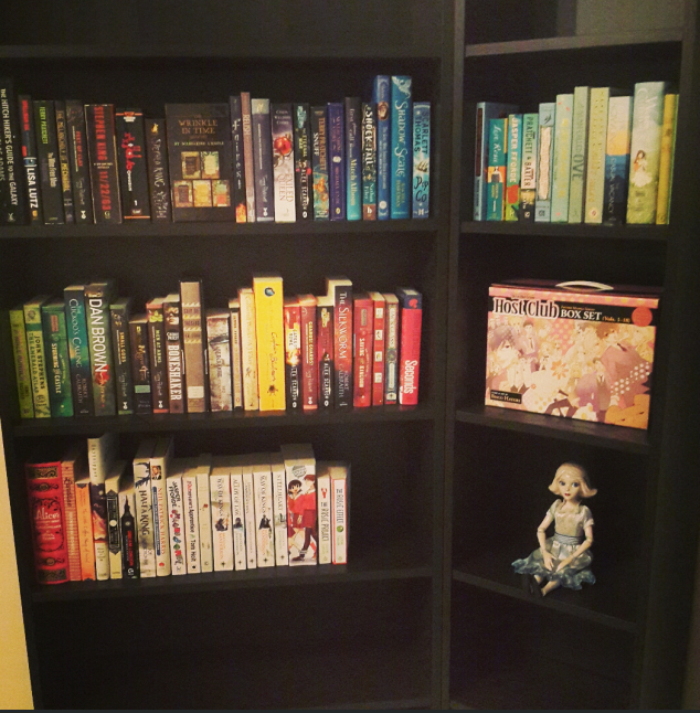The bookcase is six shelves in total, but I don't have enough books with me to fill 'er up.