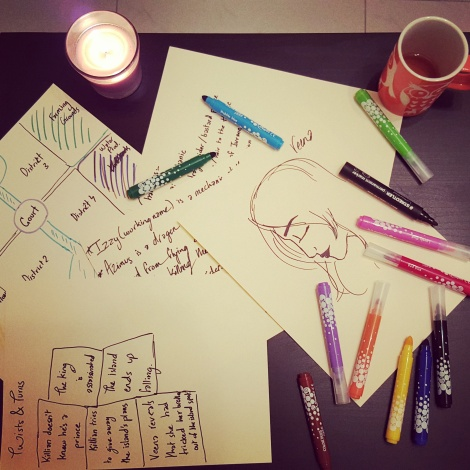Late night brainstorming sessions with tea and candles.